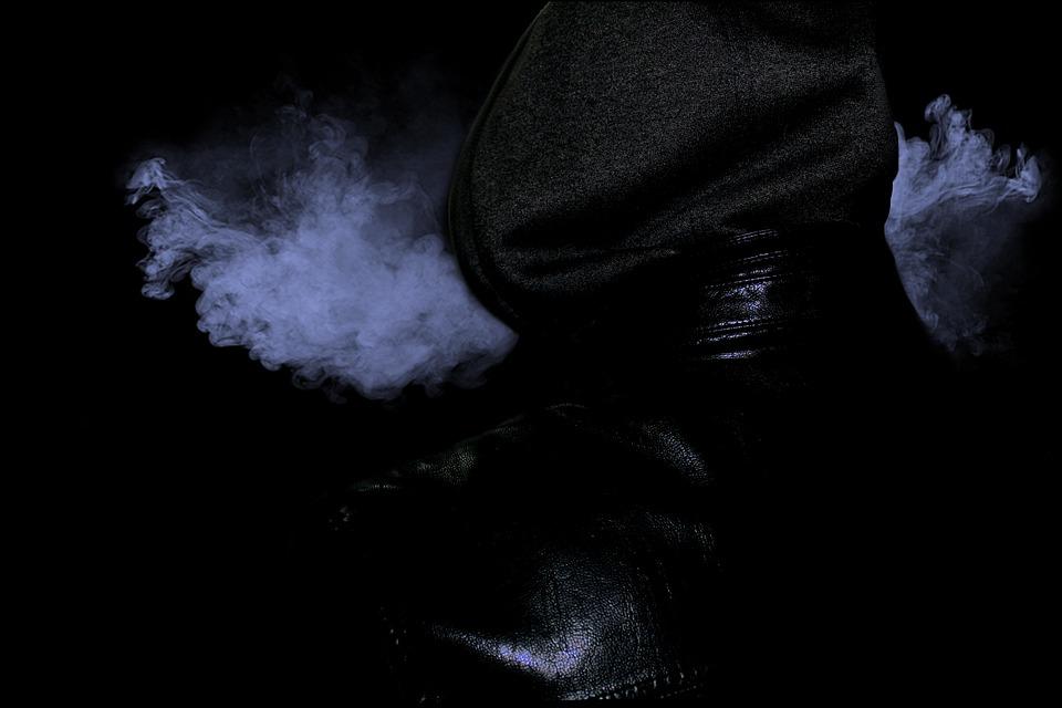 Smoke, Man, Male, The Darkness, Black, Blue, White
