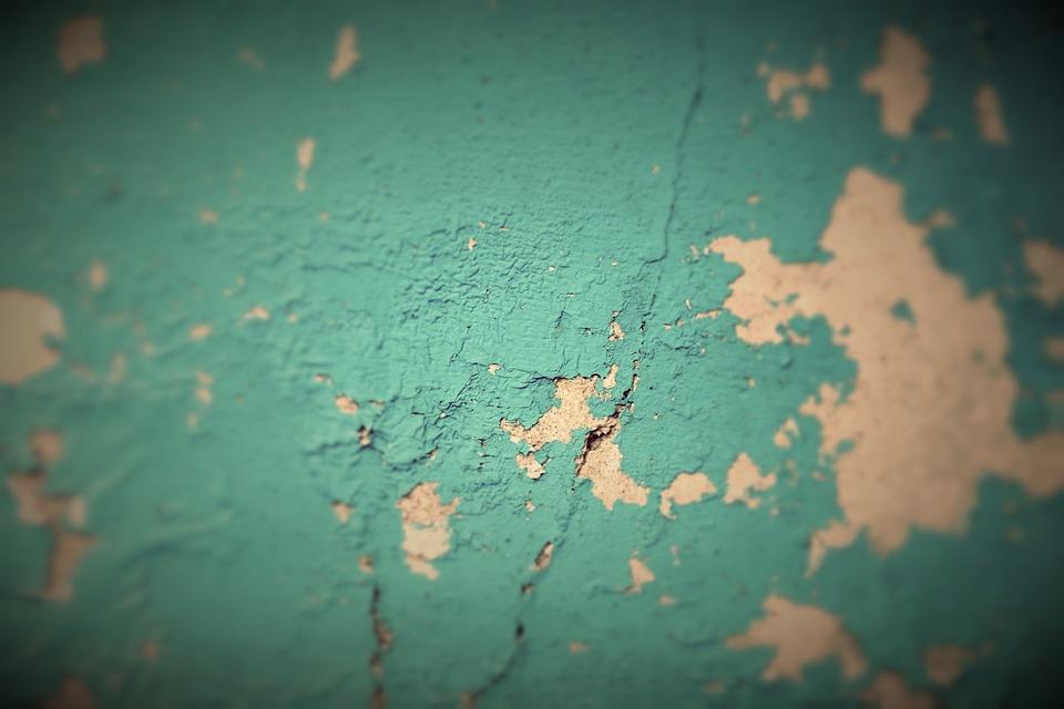 Peeling Paint, Flaking Paint, Grunge, Turquoise, Blue