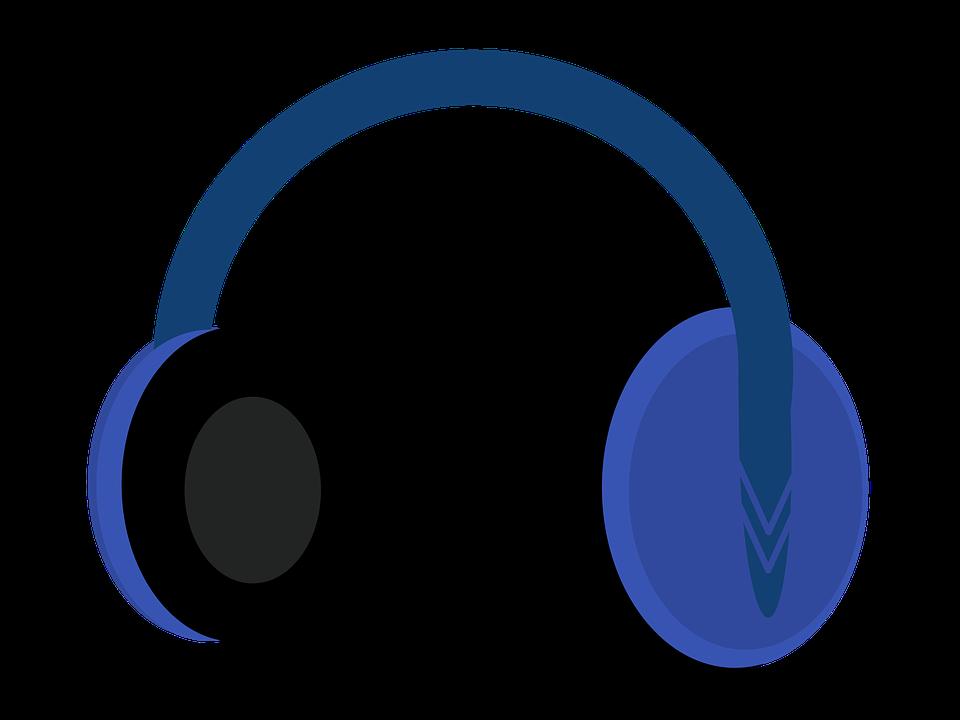 Headphones, Blue, Black, Vector, Illustration