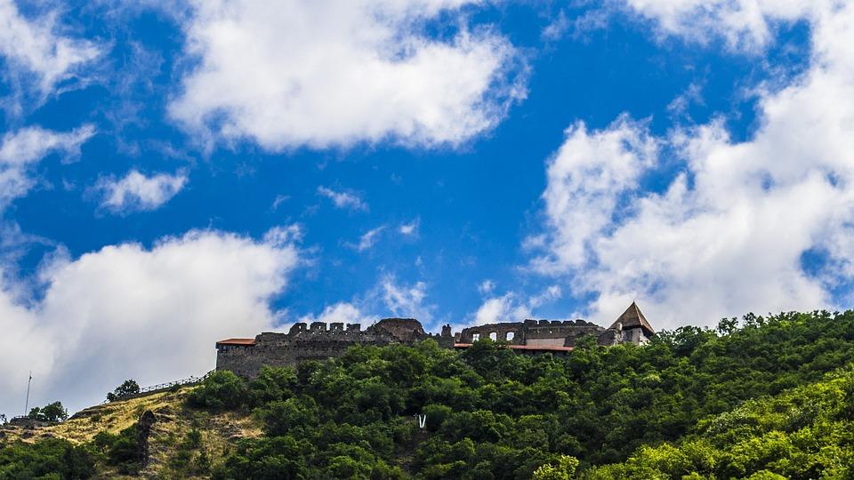 Visegrád, Castle, Danube, Hungary, Sky, Blue, White
