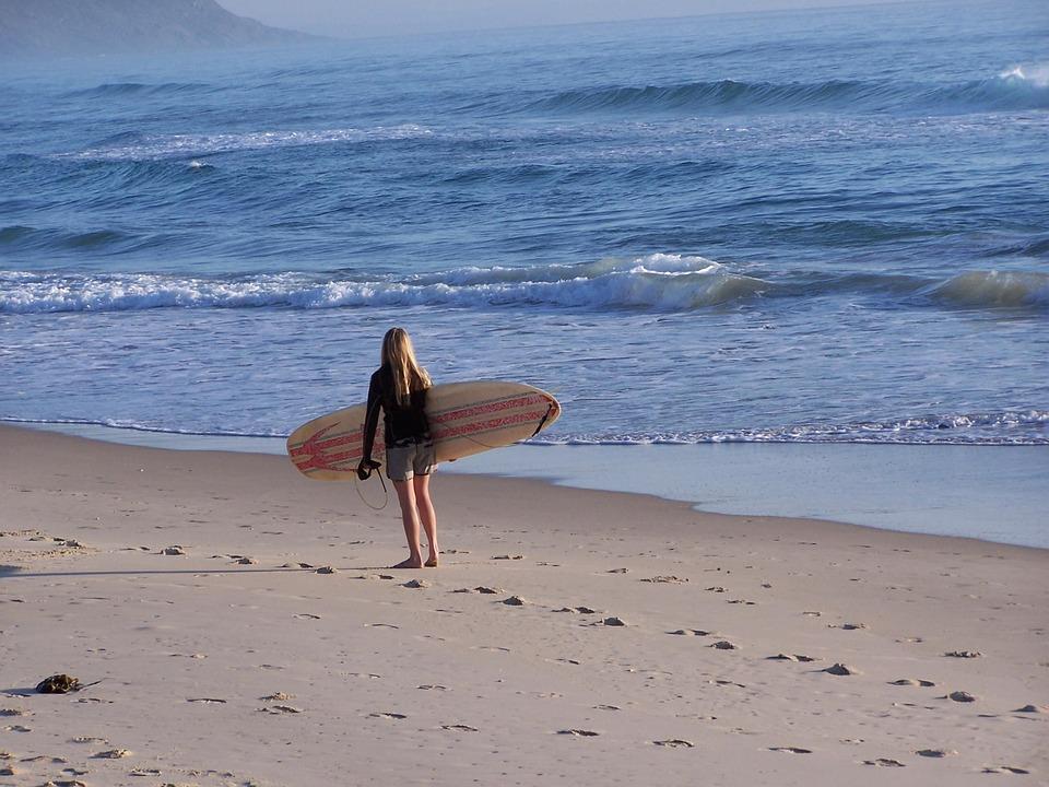 Beach, Surfer, Sea, Ocean, Wate, Blue, Sandy, Shore