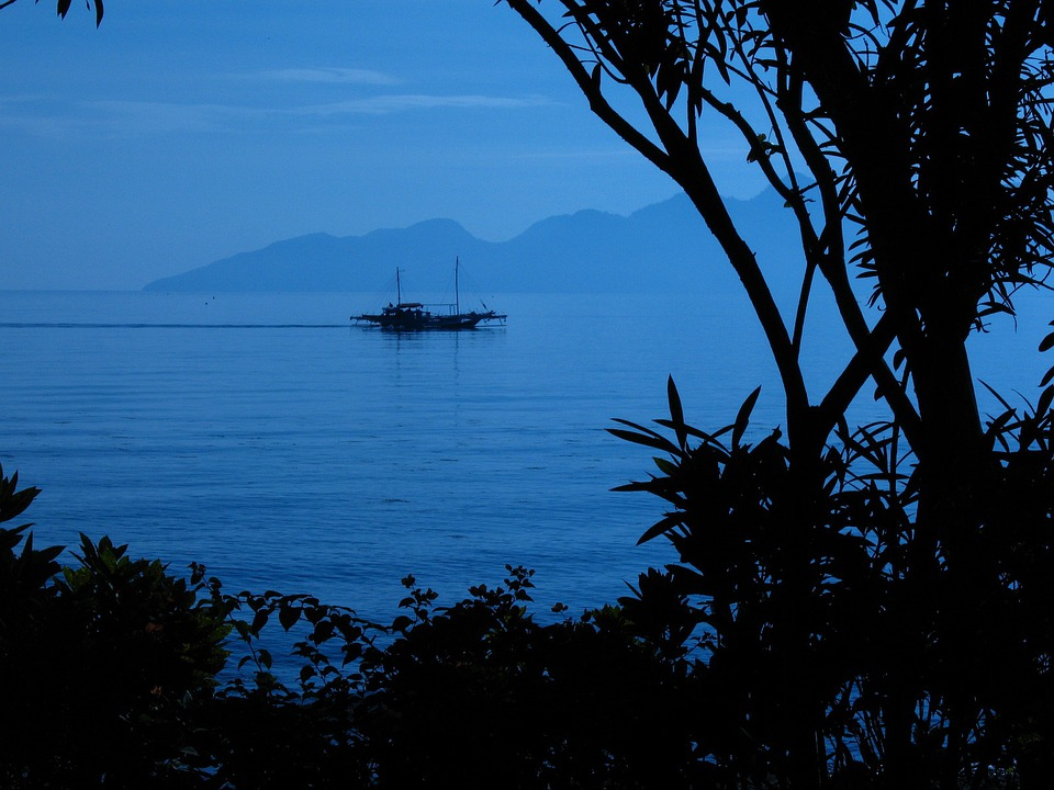 Boat, Blue, Sea, Silhouette, Water, Mountains, Tranquil