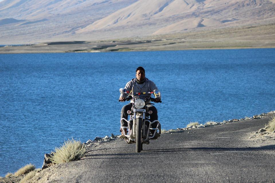 Rider, Pangong, Lake, Himalyan, Bullet, Blue, Water
