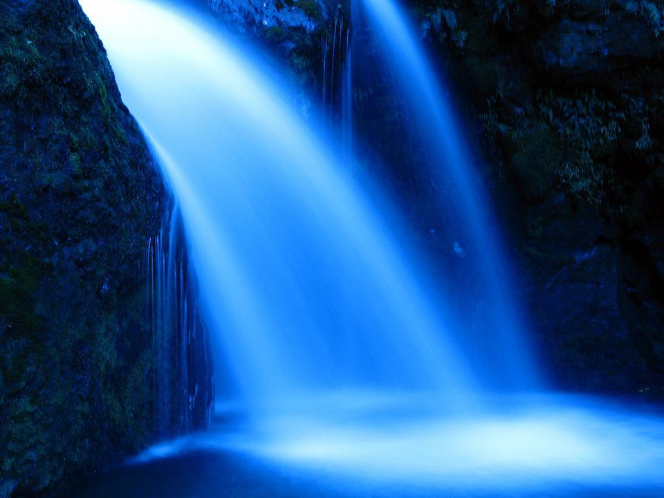 Water, Waterfall, River, Blue Water, Blue Waterfall