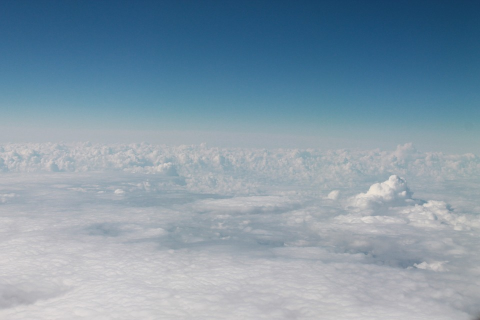 Above The Clouds, Sky, White, Airplane, Blue