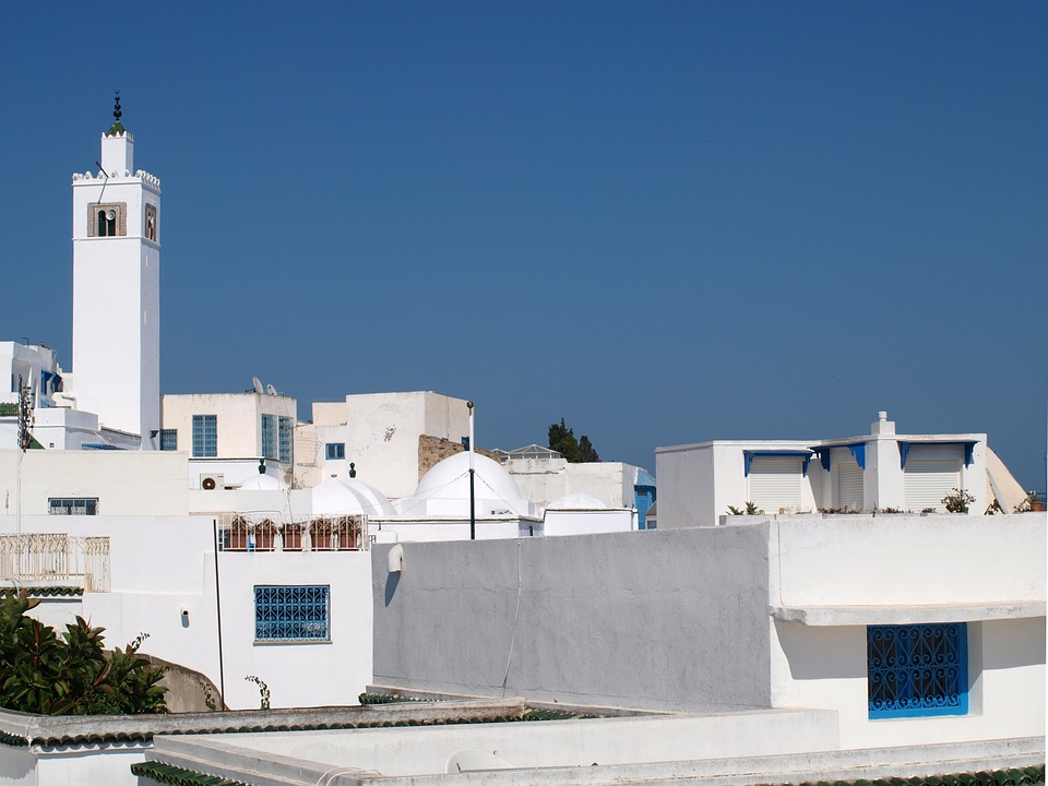 Tunis, Minaret, Old Town, Blue, White Walls