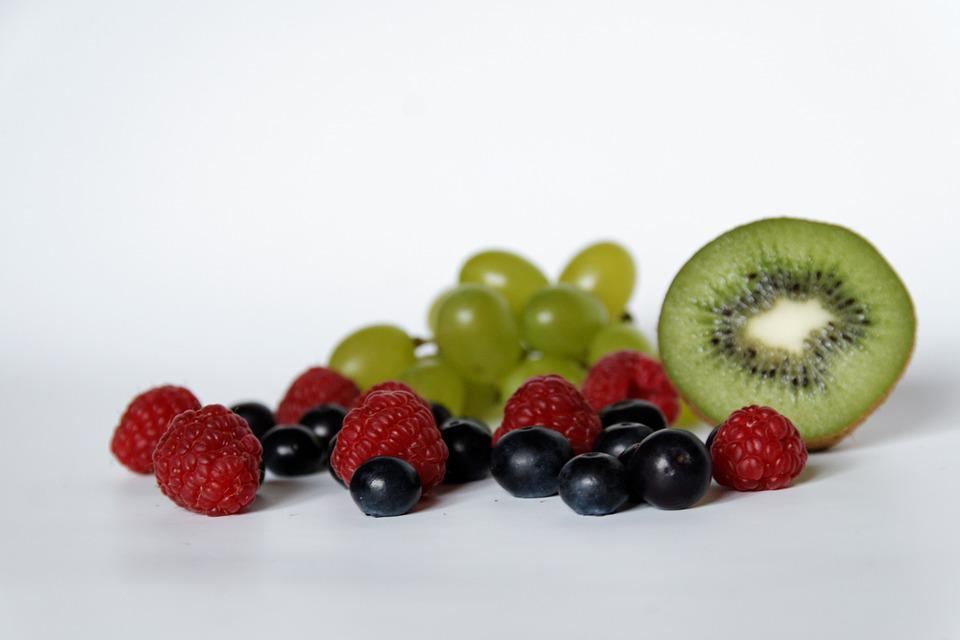 Blueberries, Raspberries, Grapes, Kiwi, Fruit, Healthy