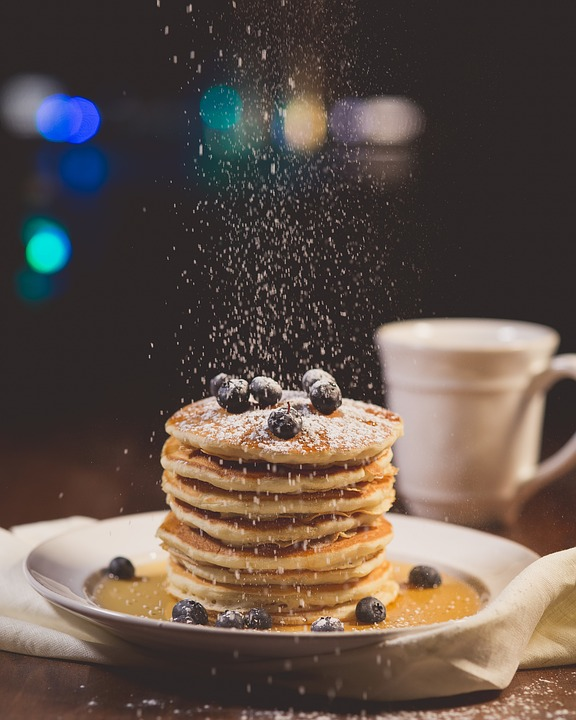 Blueberries, Breakfast, Pancakes, Blur, Close-up