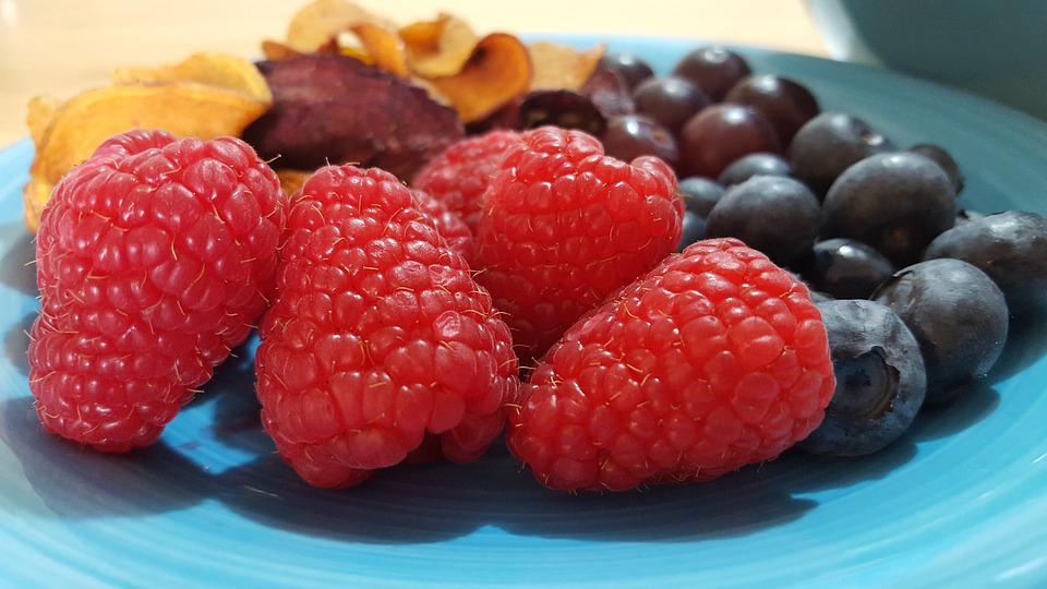 Raspberry, Blueberries, Healthy, Snack, Red, Food