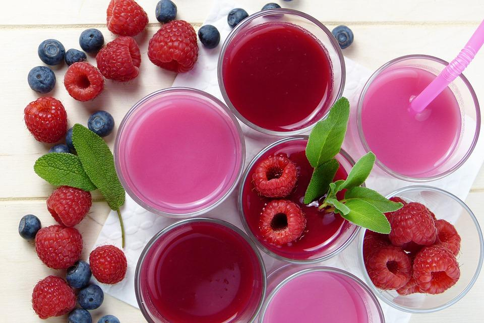 Raspberry, Blueberry, Smoothies, Juice, Pressed, Frisch