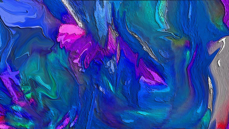 Abstract, Blues, Little Pink, Digital-art, Colorful