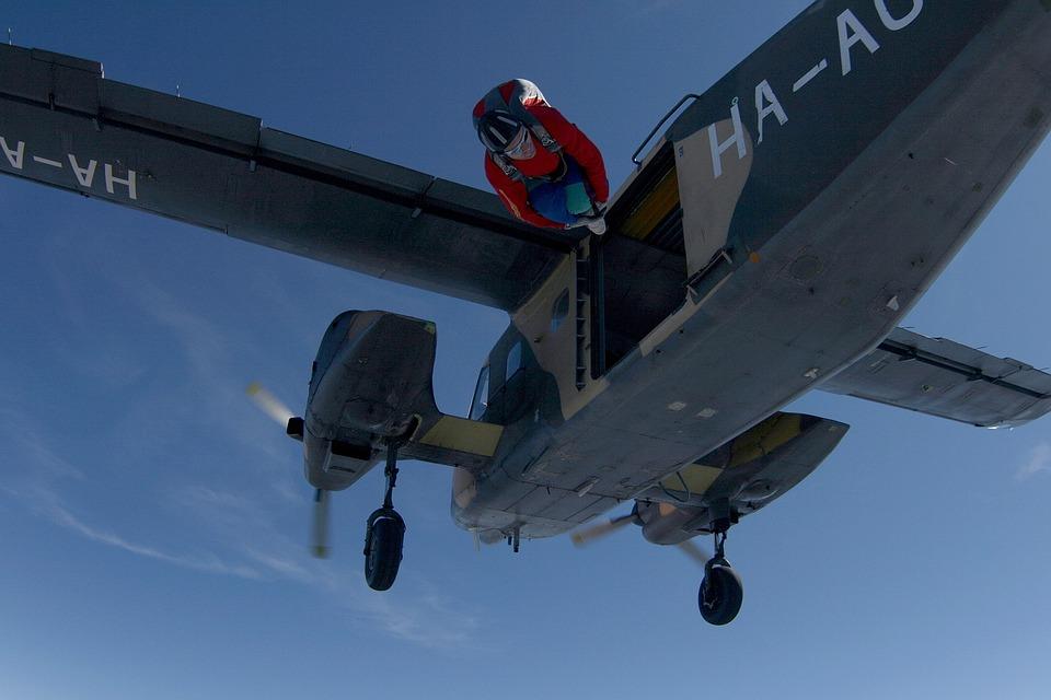 Exit, Jump, Bluesky, Parachutist, Fly, Freefall