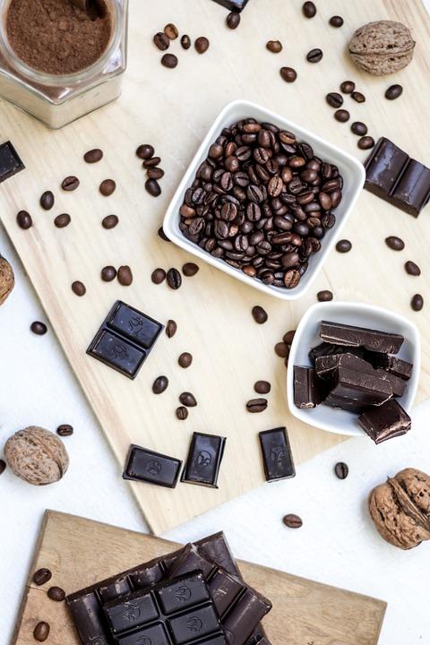 Wooden, Chopping, Board, Chocolate, Bar, Coffee, Bean