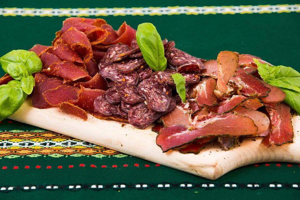 Food, Appetizers, Plate, Board, Sliced, Meat