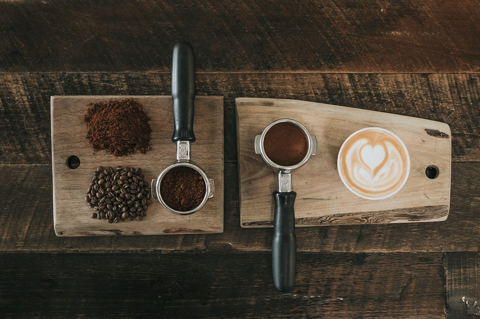 Coffee, Beans, Seed, Powder, Wooden, Chopping, Board