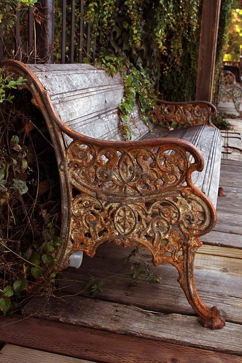 Bench, Rustic, Antique, Boardwalk, Storefront, Ivy