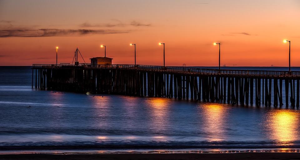Beach, Boardwalk, Sunset, Lamp Posts, Jetty, Pier