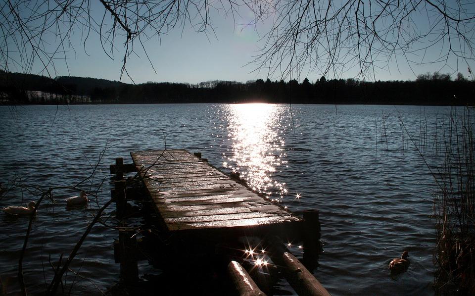 Boardwalk, Sunset, Lake, Burgäschisee, Water, Dock