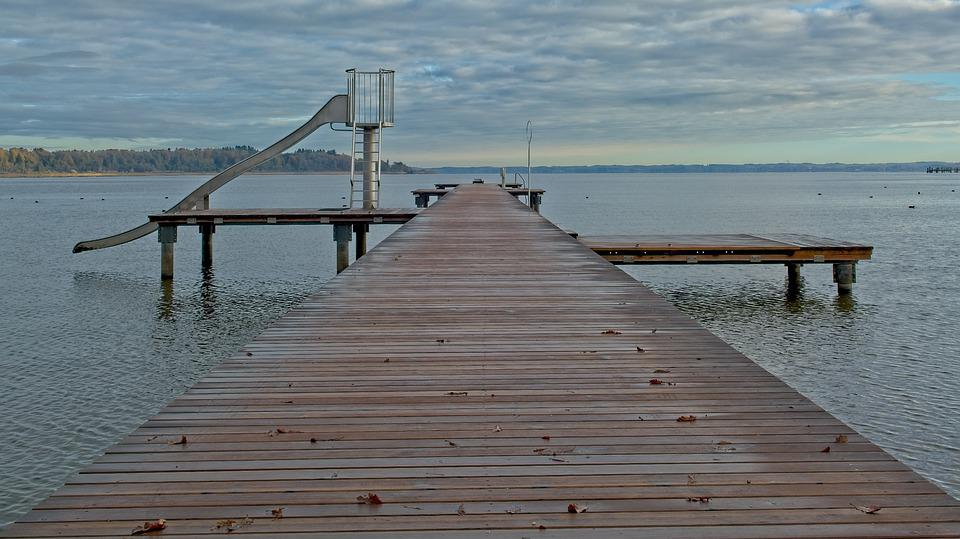 Boardwalk, Jetty, Outdoor Pool, Web, Lake, Chiemsee