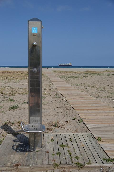 Beach, Shower, Boat, Spain, Blue, Empty, Seat