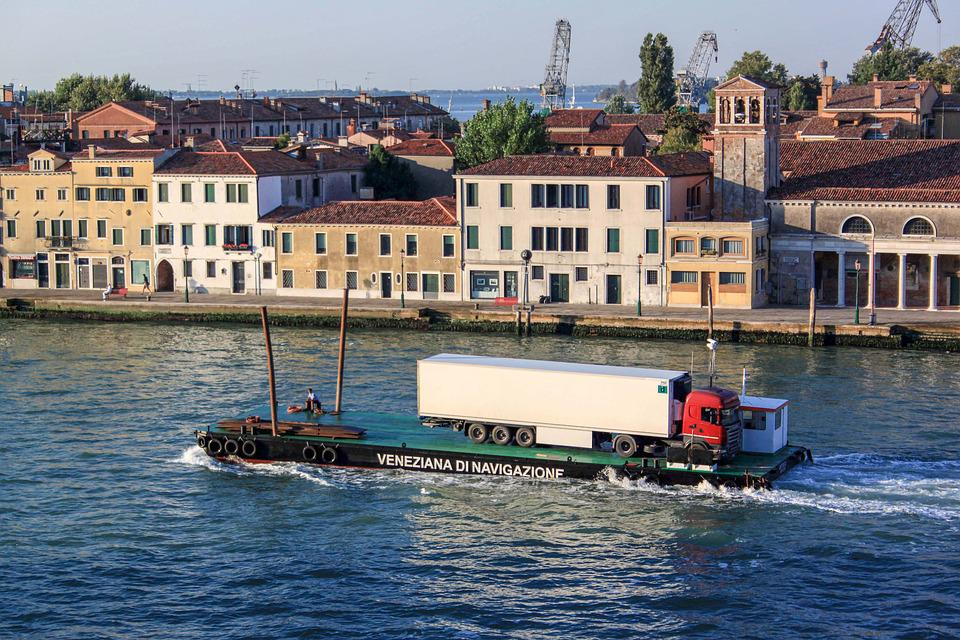 Venezia, Channel, Boat, Camion, Transport