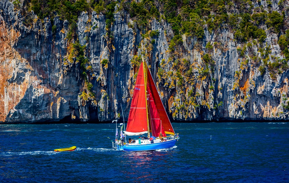 Boat, Thailand, Blue, Sea, Ocean, Water, Cliff