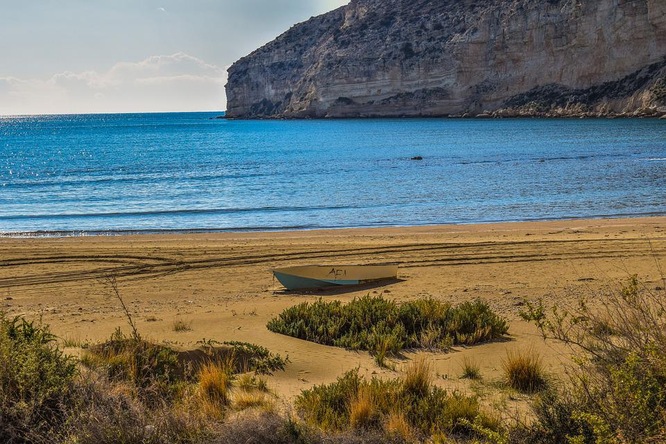 Beach, Cliffs, Sea, Coastline, Landscape, Boat, Scenic