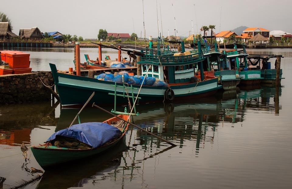 Boat, Cambodia, Morning, Fishing, Fisherman, Sea