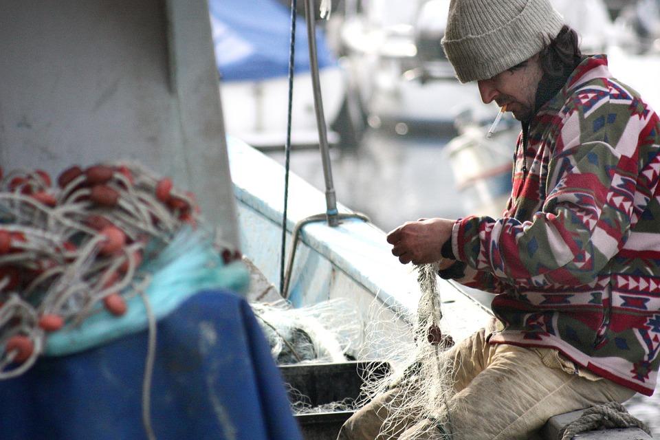 Fisherman, Network, Boat, Sea, Fishing