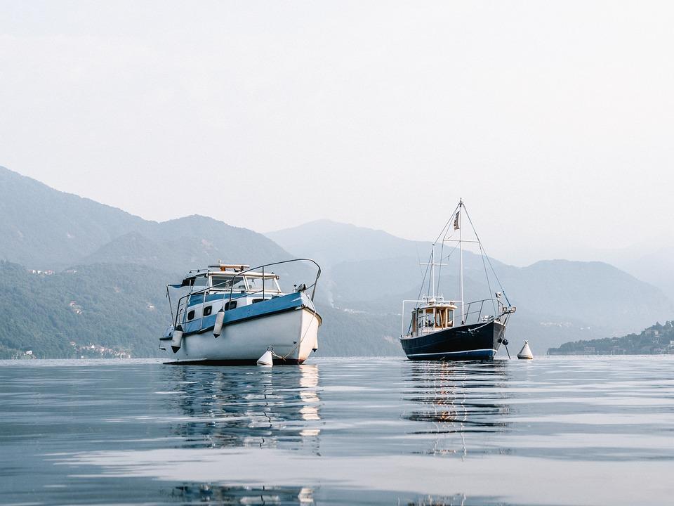 Boat, Fishing, Lake, Mountain, Italy, Sea, Calm, Blue