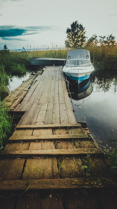 Boat, Ladder, Water, Lake, Nature, Clouds, Track