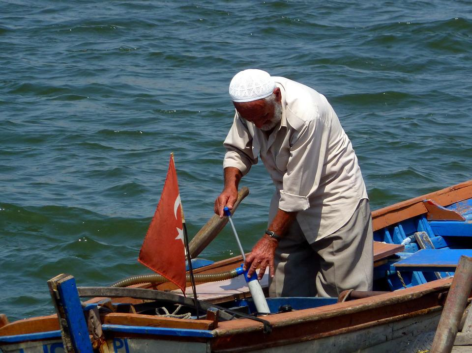 Fisherman, Sea, Boat, Man