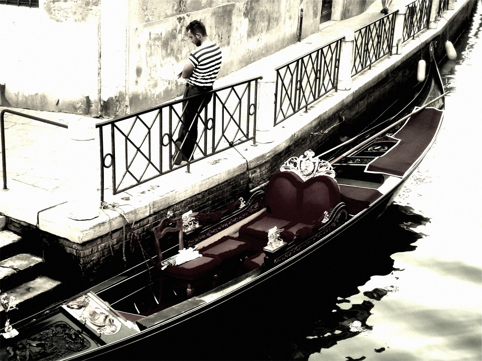 Venice, Italy, Gondola, Boat, Man, Guy, People, Railing