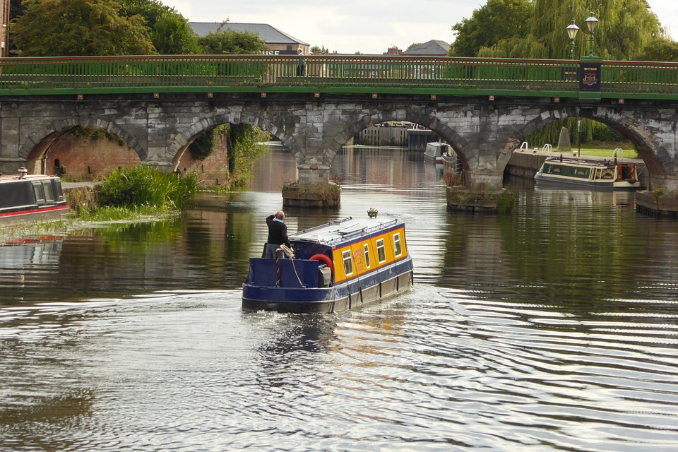 Boat, Canal Boat, Canal, Bridge, Newark, River