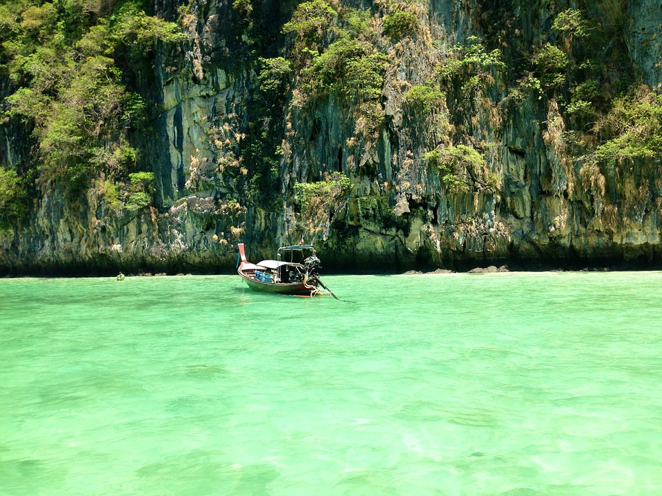 Ocean, Thailand, Sea, Landscape, Boat, Water, Green