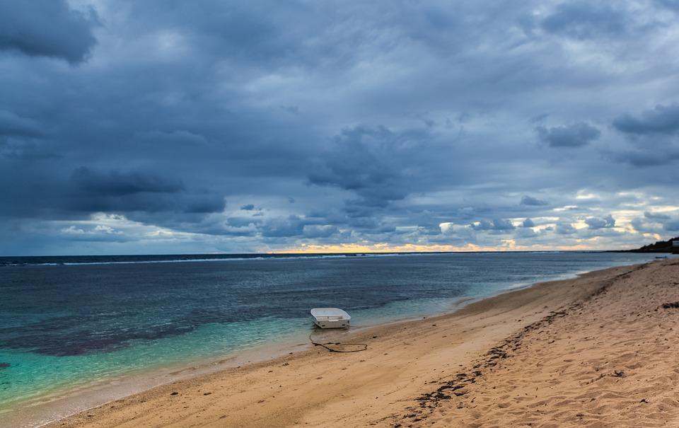 Boat On Sea, Abandoned Boat, Mauritius, Coastline