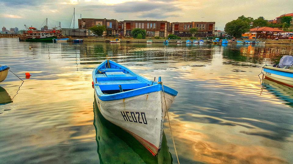 Boat, Port, Landscape, In The Evening, Sunset, Great