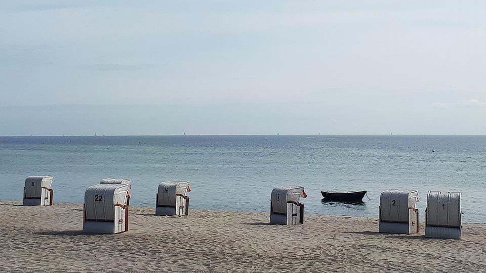 Baltic Sea, Coast, Rest, Sand Beach, Sky, Clubs, Boat