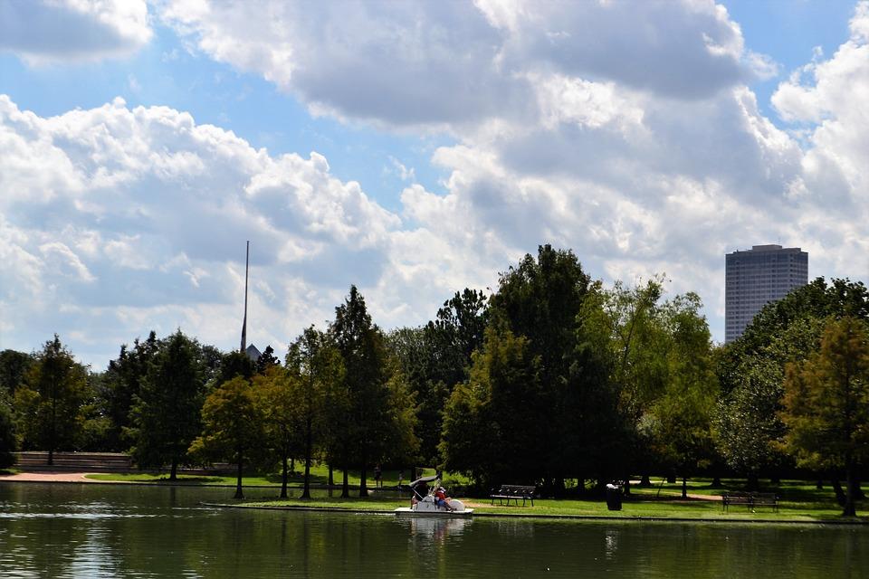 Herman Park, Lake, Houston Texas, Boat Ride, Trees