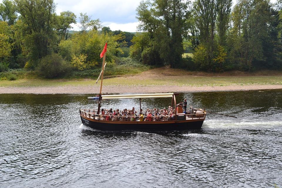Barge, River, Dordogne, Boat, Boat Ride, Shore