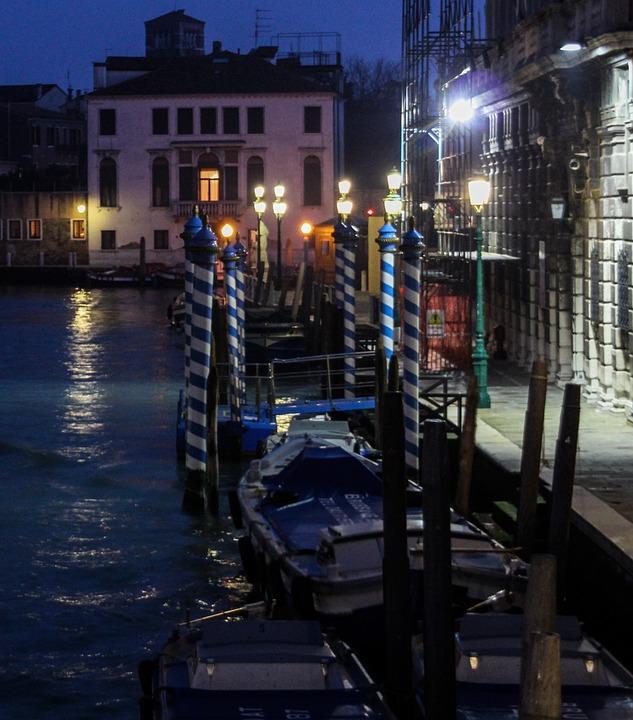 Channel, Boat, Houses, Night, Light, Romantic