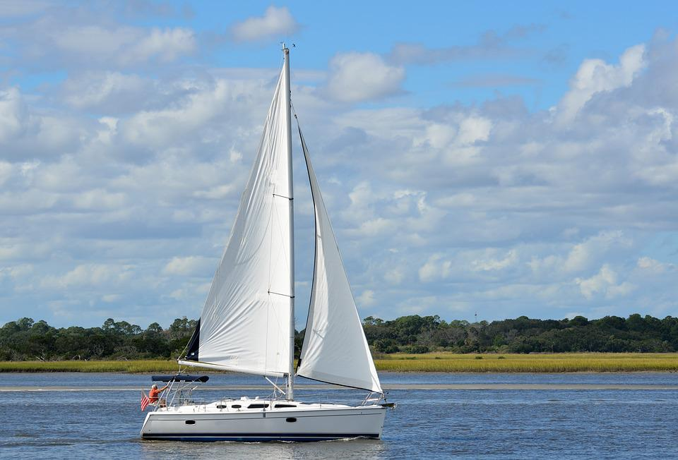 Sailboat, Sail, Sailing, Boat, River, Water, Sea