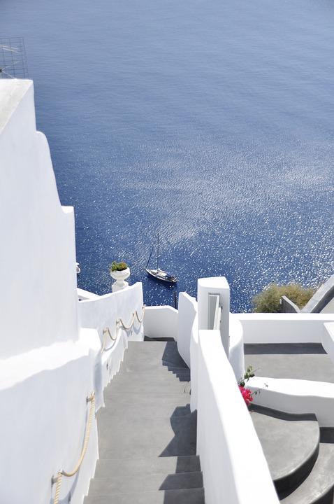 Steps Water Sea, Greece, Santorini, Boat, Sea