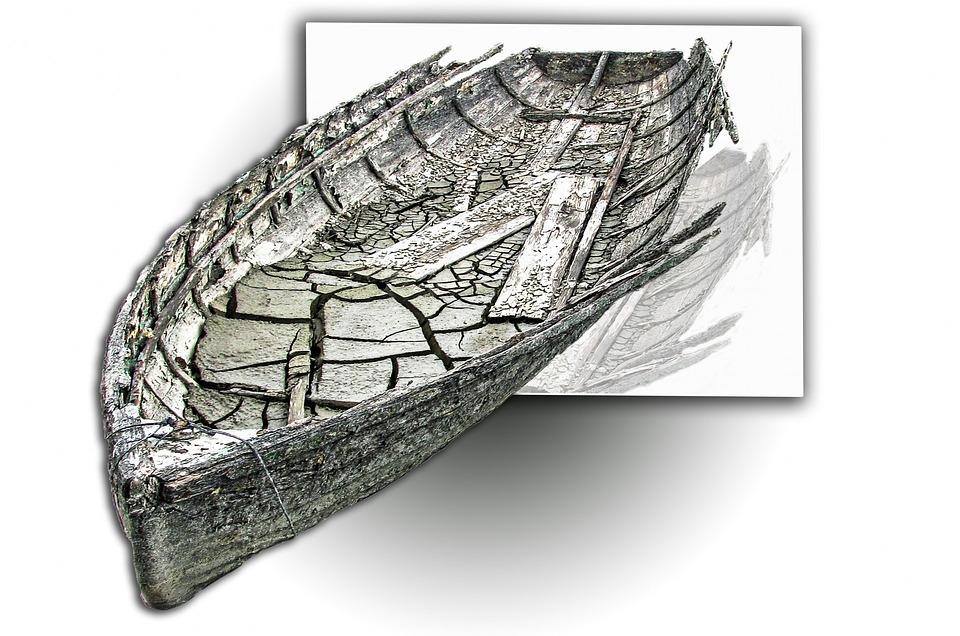 Old, Ship, Boat, Mud, Broken, Abandoned, Sad