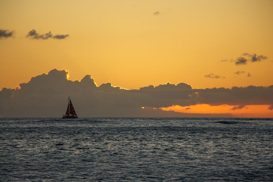 Sailboat, Hawaii, Sunset, Colors, Sea, Ocean, Boat