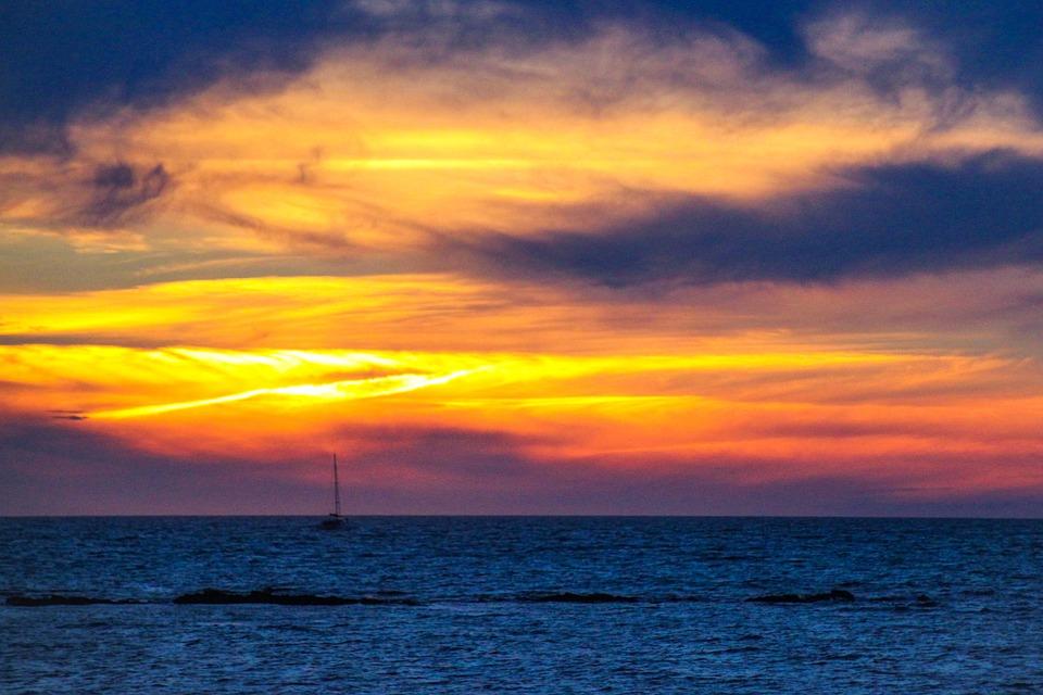 Sunset, Boat, Ocean, Noirmoutier