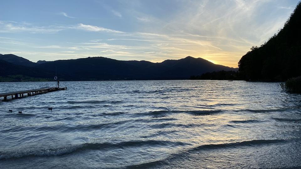 Lake, Pier, Boat, Sunset, Summer, Sun, Sky, Evening