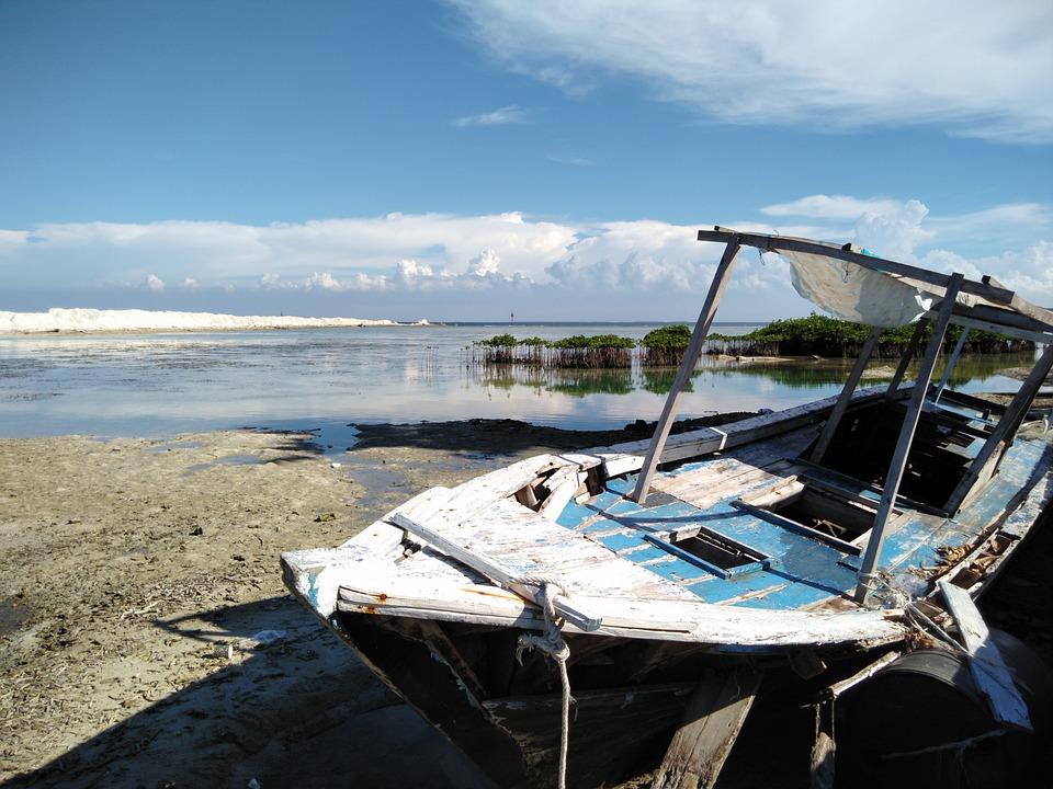 Boat, Cloud, The Sky, White, Blue, Beach, The Sea