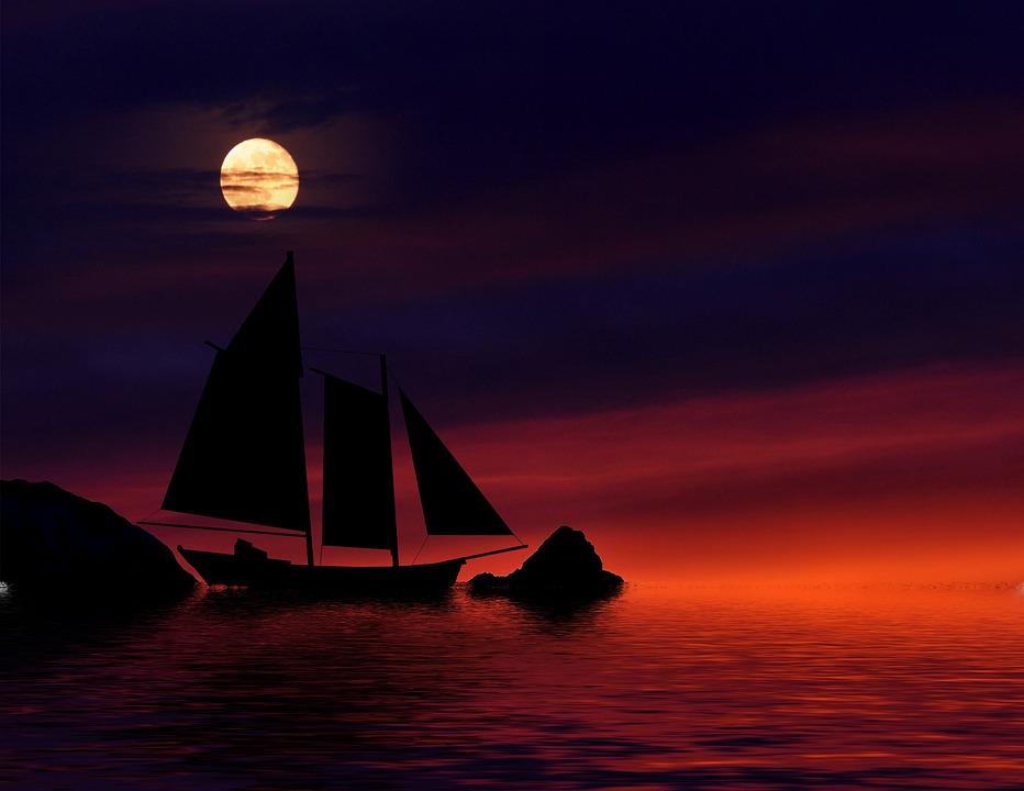Night, Boat, Sky Moon, Water, Sea, Dark