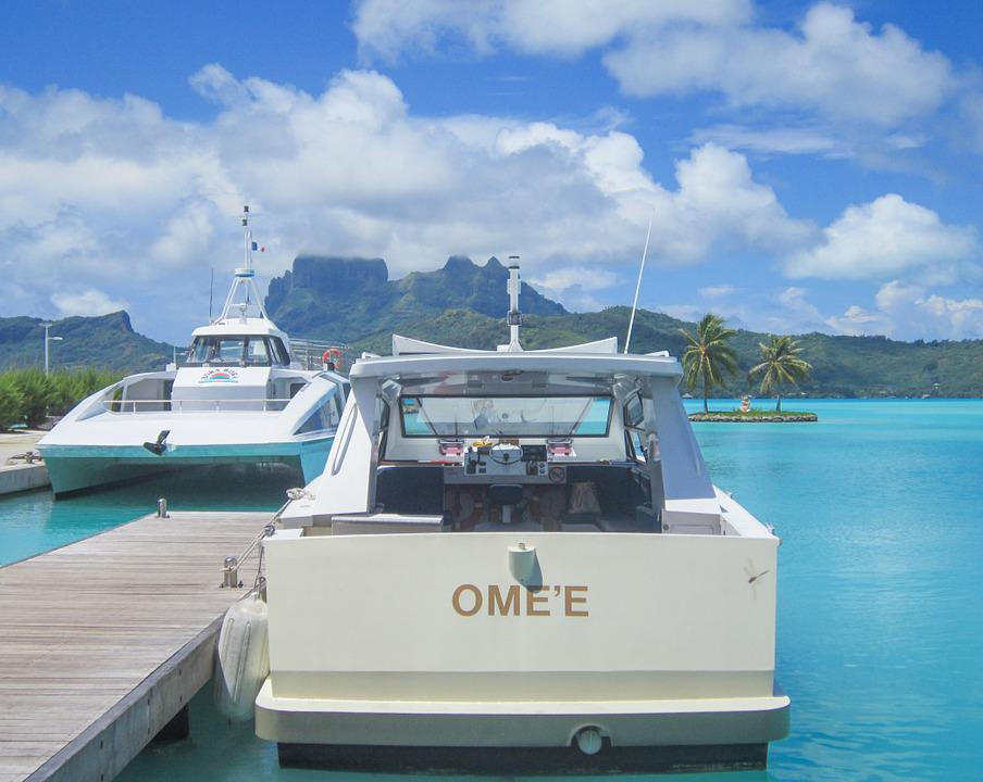 Bora-bora, Water Taxi, South Pacific, Turquoise, Boat